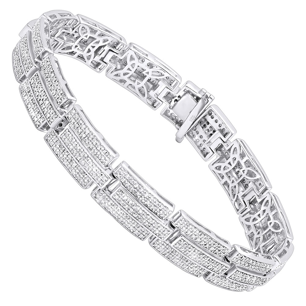 Silver Jewelry: Affordable Mens Diamond Bracelet 3.58 ct White Image