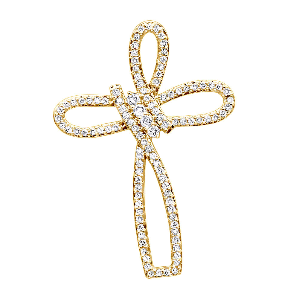 Small 14k Gold Diamond Cross Pendant for Women Fancy Bow Design 0.36ct Yellow Image