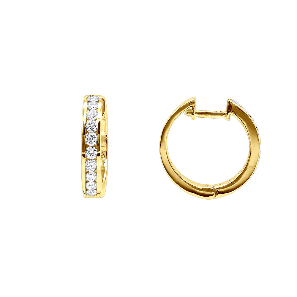 Small Diamond Hoop Earrings For Men and Women 1/2ct Huggies 14k Gold 15mm Yellow Image