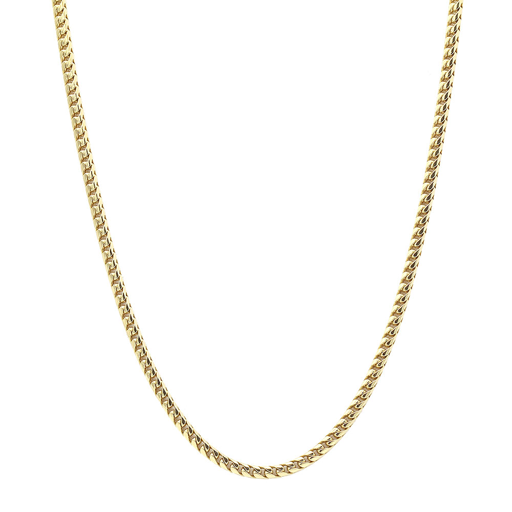 "Solid Gold Franco Chain Necklace for Men 14K Chains 3.5mm 20-32"" Yellow Image"