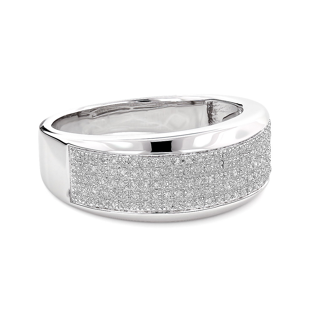 sterling silver mens diamond wedding band