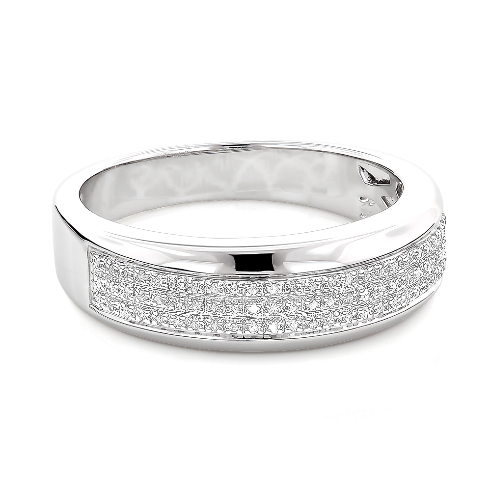 Sterling Silver Wedding Bands Mens Diamond Ring 018ct