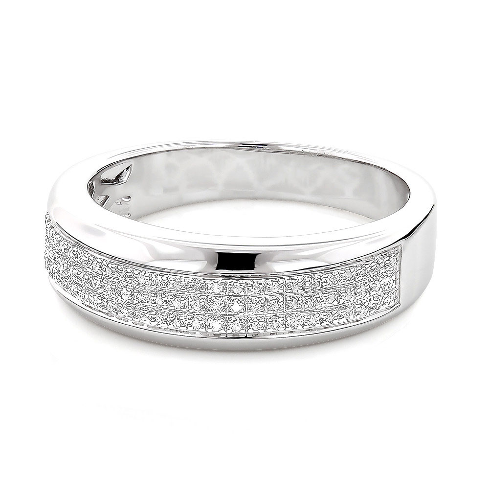Sterling Silver Wedding Bands: Mens Diamond Ring 0.18ct Main Image