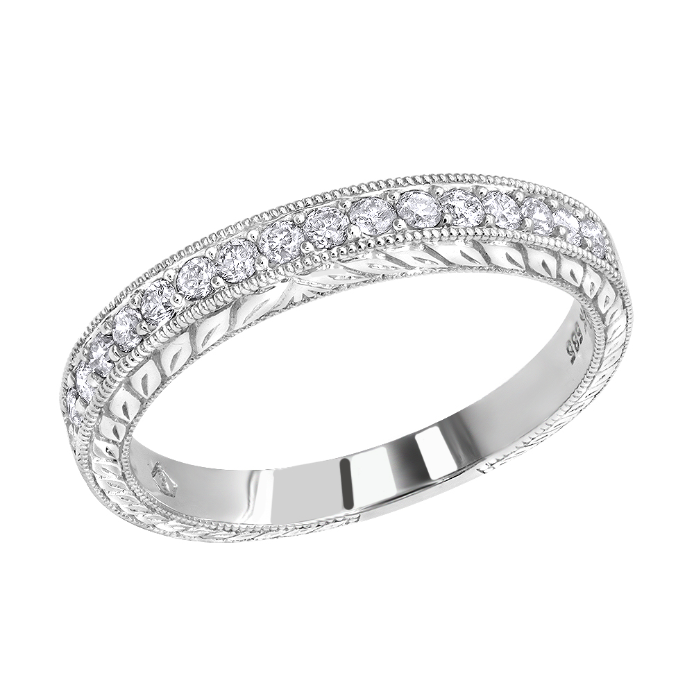 Thin 14K Gold Diamond Wedding Band for Women Vintage Filigree Look 1/2ct White Image