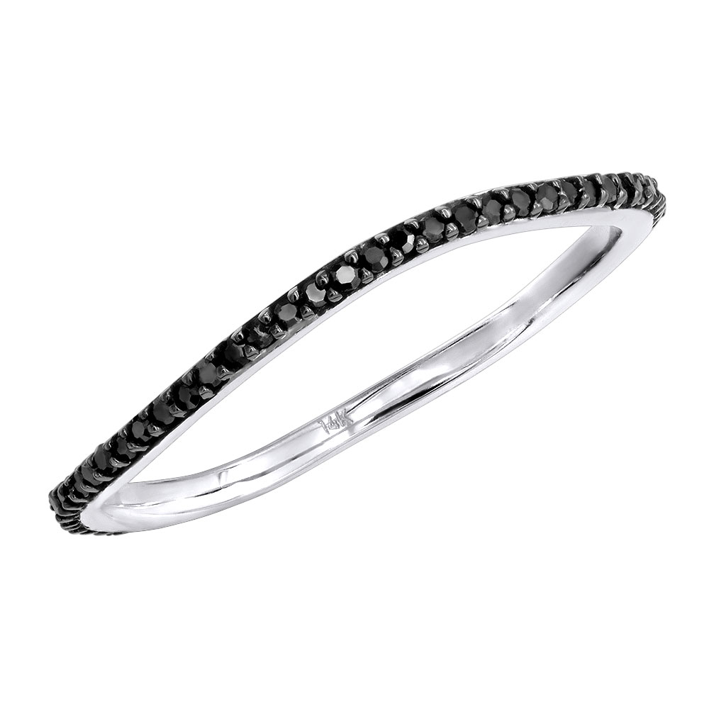 Stackable Rings Thin Black Diamond Band for Women 0.15ct White Image