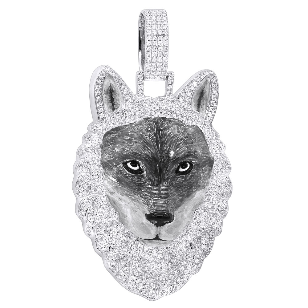 Unique Custom Jewelry: Diamond Wolf Pendant for Men in 10k Gold w Enamel 2ct Iced Out Design White Image