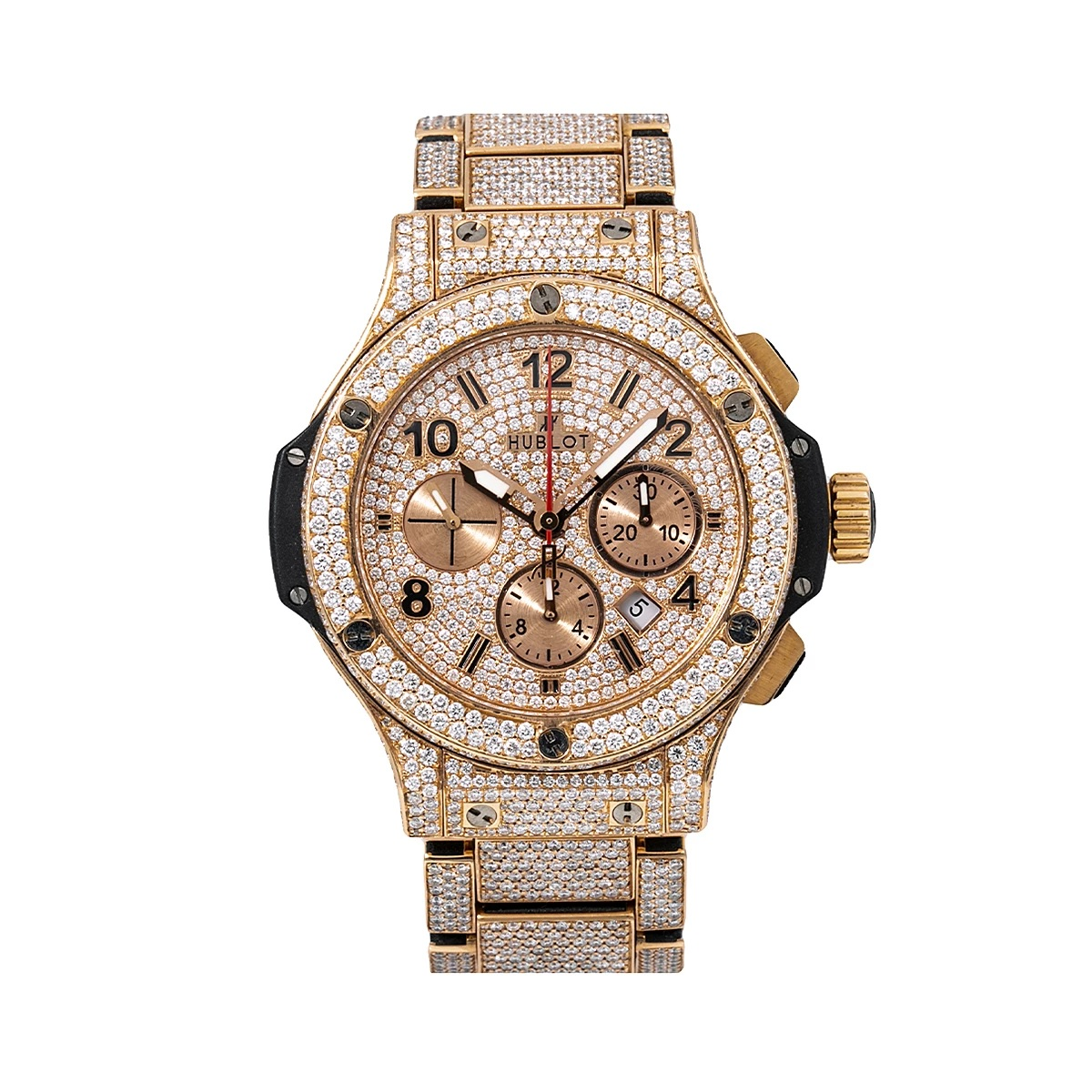 44mm Hublot Mens Diamond Watch Fully Iced Out Big Bang in Rose Gold 18.09ct Main Image