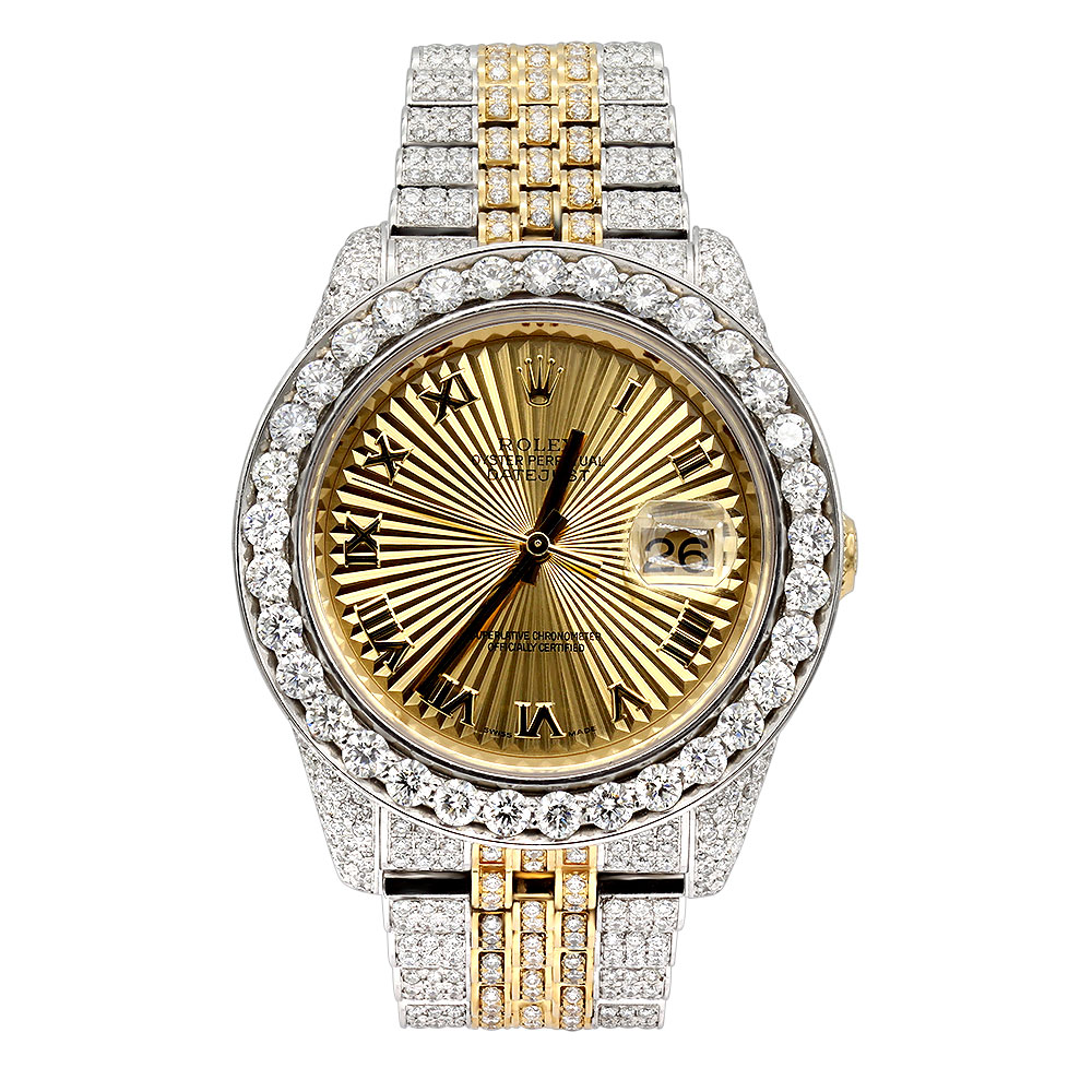 Iced Out Watches Bust Down Rolex Oyster Perpetual Mens Diamond Watch Two Tone 18ct