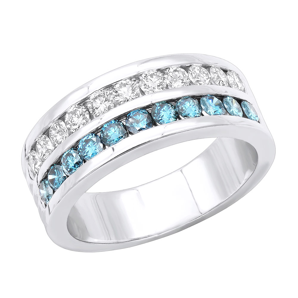 White and Blue Diamond Wedding Band 1.32ct 14K Gold Unique Rings white-and-blue-diamond-wedding-band-132ct-14k-gold-unique-rings_1