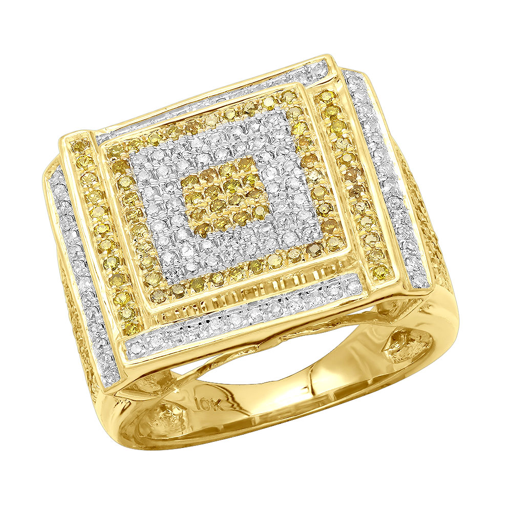White and Yellow Diamond Mens Ring 1.22ct 10K Gold Yellow Image