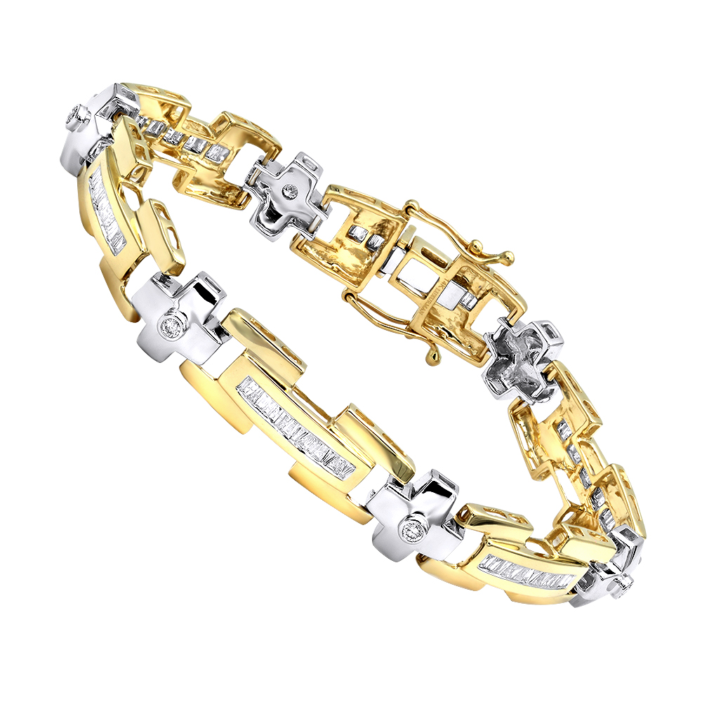 14k White Yellow Gold Diamond Men's Bracelet 1.95ct Yellow Image