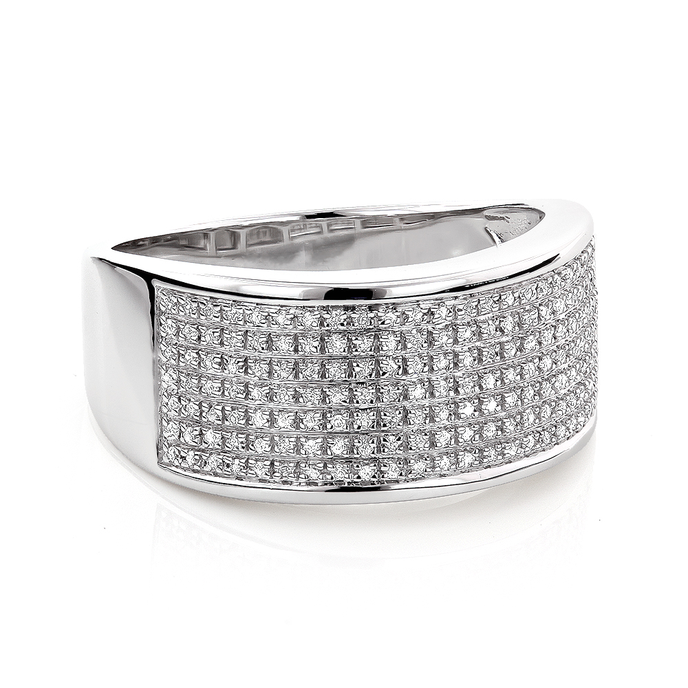 Wide Diamond Wedding Band In Sterling Silver 0 32ct Ladies Mens