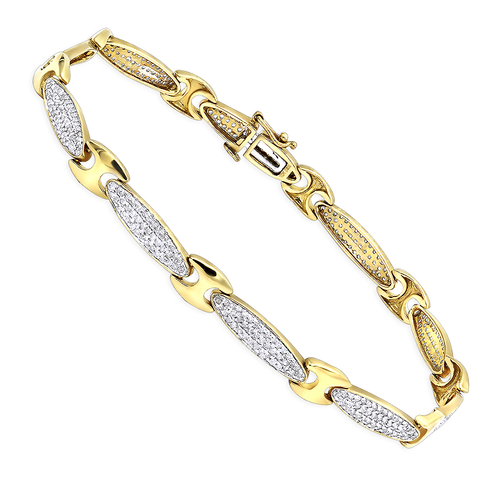 Womens Diamond Bracelet in White or Yellow Gold 1.36ct 10K Gold Yellow Image