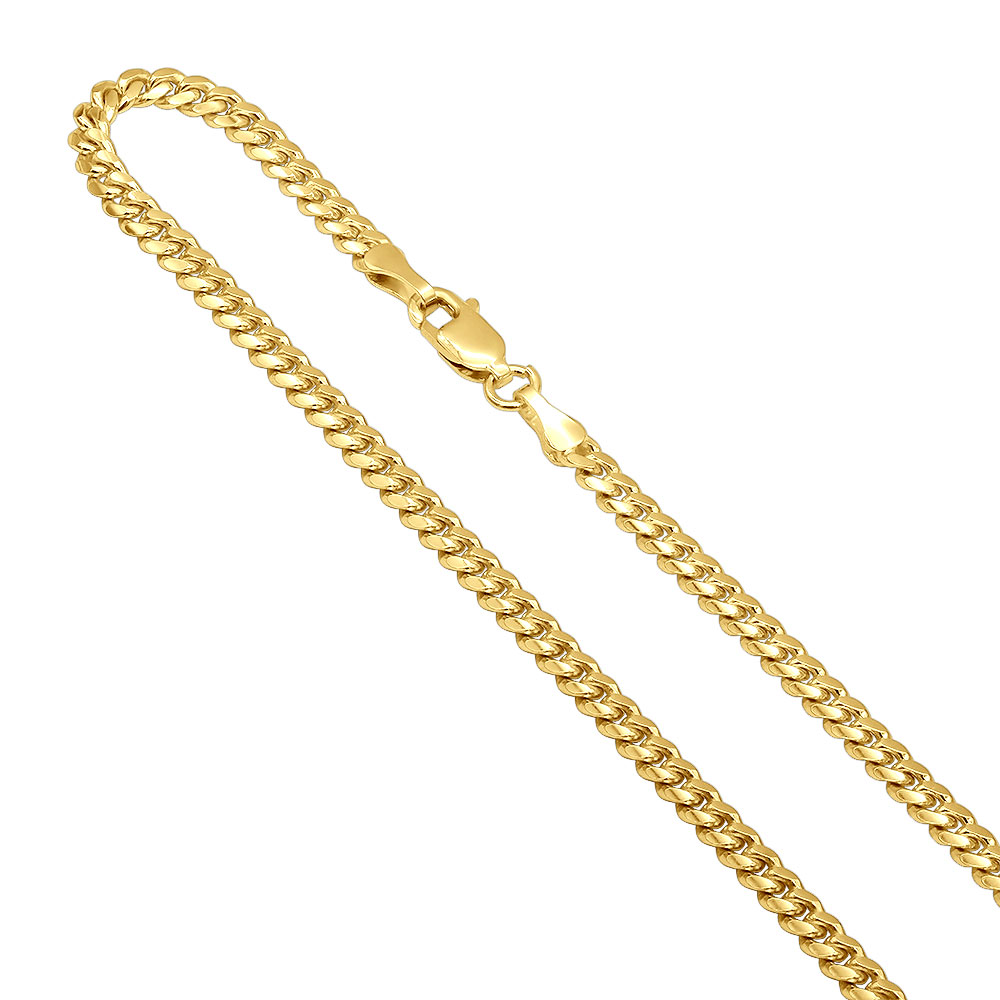 Mens Solid Yellow Gold Miami Cuban Link Curb Chain 14K 3mm 22-40in Yellow Image