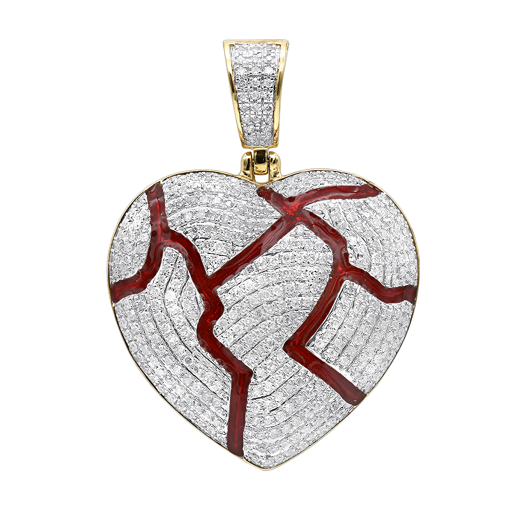 1 Carat Real Diamond Broken Heart Pendant Iced Out in 14k Gold by LUXURMAN Yellow Image
