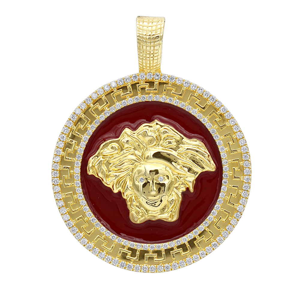 10k Gold Red Enamel Medusa Head Pendant Versace Style Diamond Medallion Yellow Image
