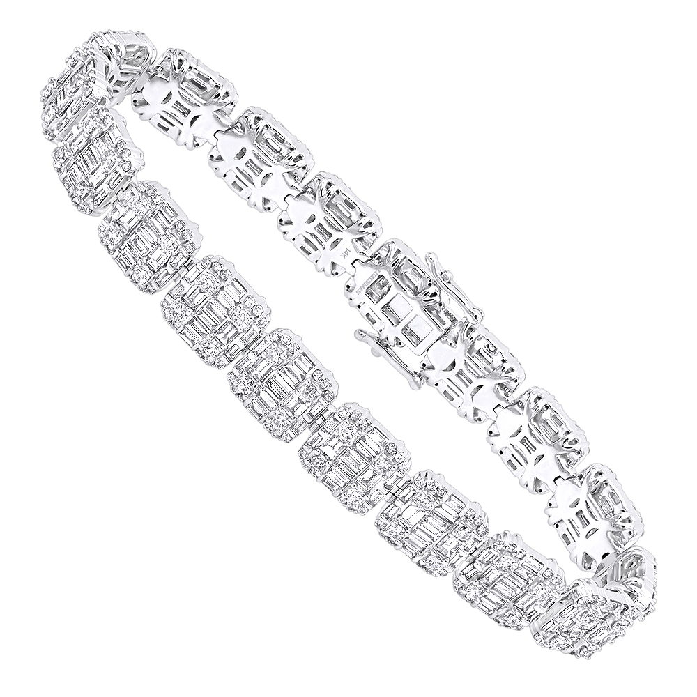 14k Gold Baguette and Round Diamond Tennis Bracelet for Men & Women 14CT White Image