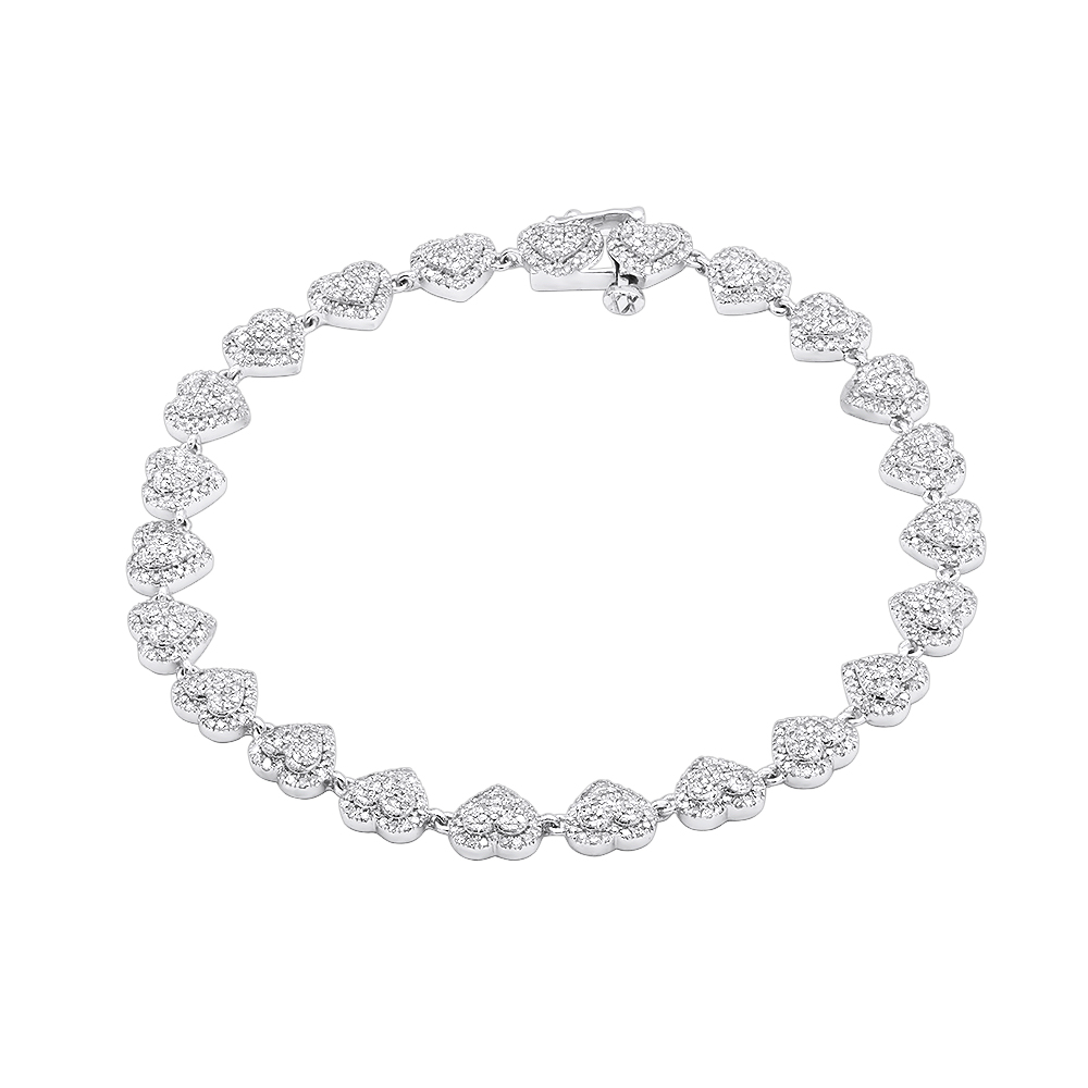 14K Gold Diamond Heart Bracelet For Women 1.75Ct White Image