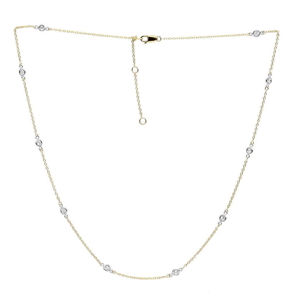 14k Gold Diamonds By the Yard Station Necklace for Women 0.5 Adjustable Yellow Image