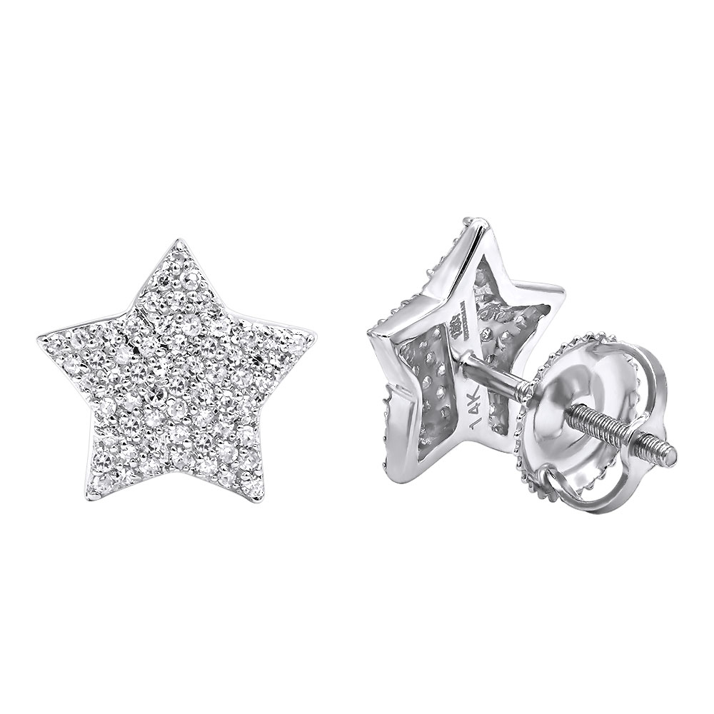 14k Gold Fully Iced Out Pave Diamond Star Earrings Studs 0.25CT by Luxurman White Image