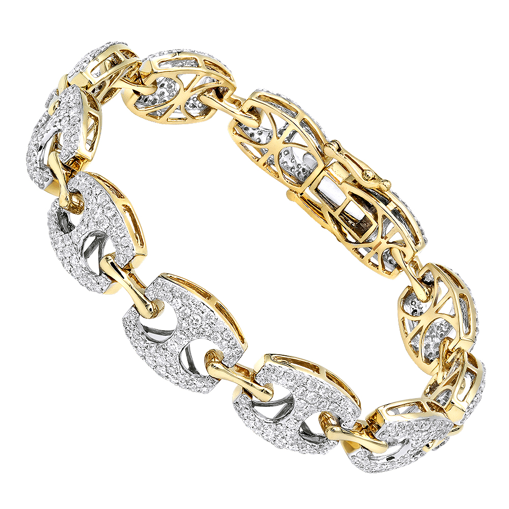 14k Gold Gucci Link Diamond Bracelet for Ladies 5 Carat by LUXURMAN Yellow Image
