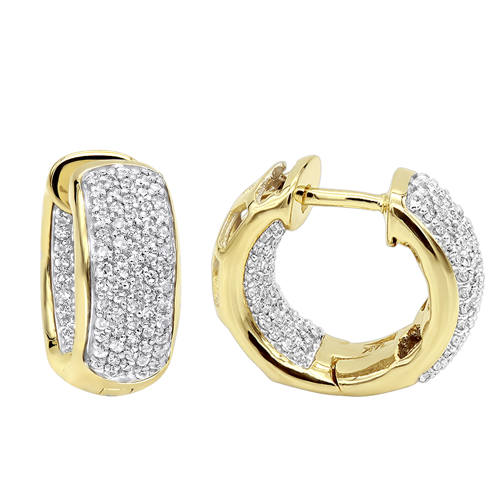 14K Gold Huggies Small Inside Out Diamond Hoop Earrings 0.7ct Yellow Image