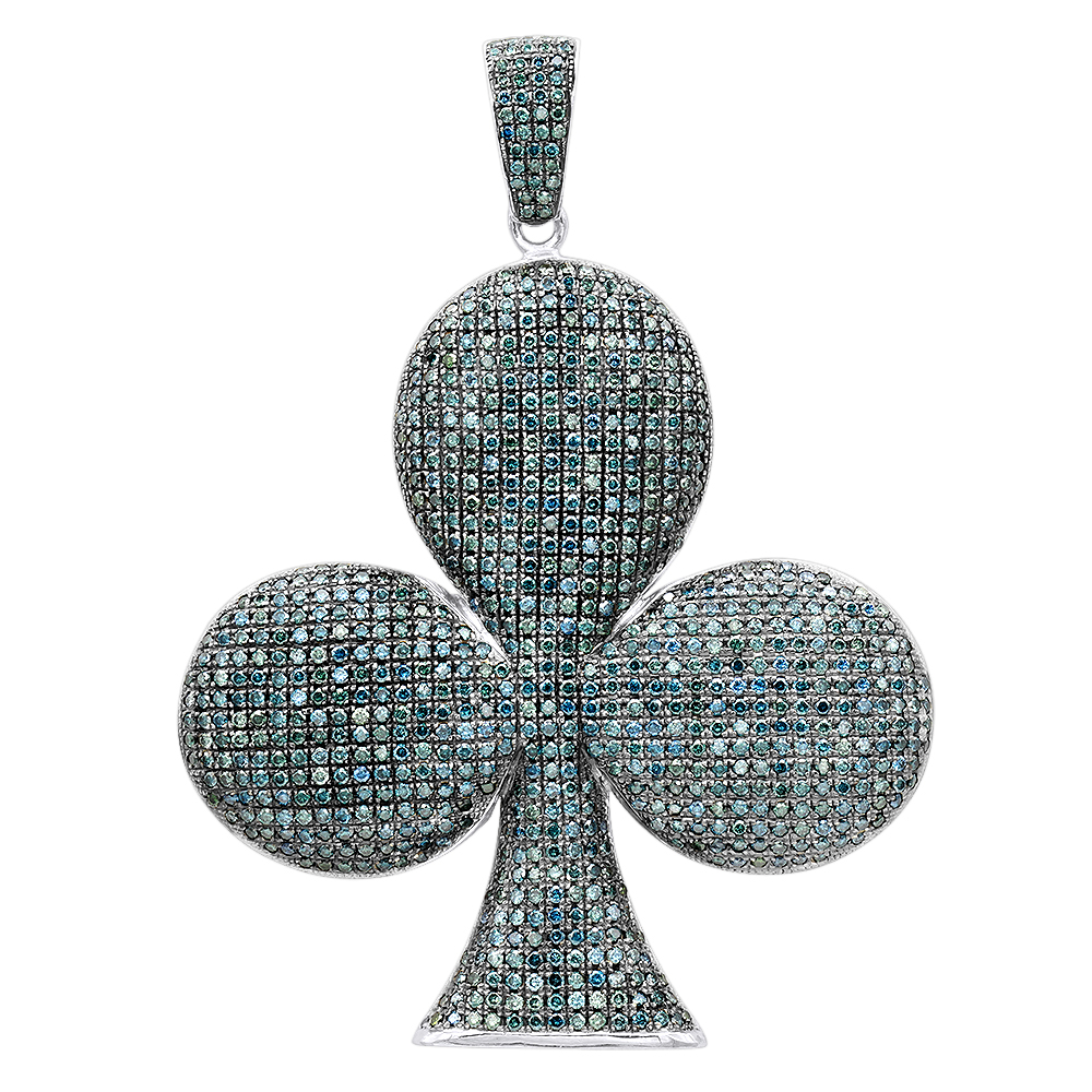 14K Gold Large Clover Blue Diamond Pendant for Men 26ct by Luxurman White Image