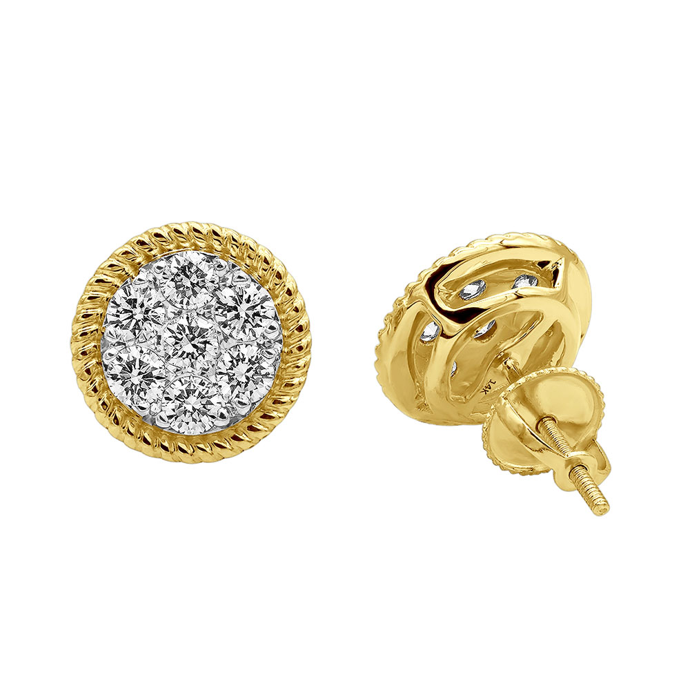 14k Gold Large Diamond Cluster Earrings Studs for Men & Women 5 Carat Look Yellow Image