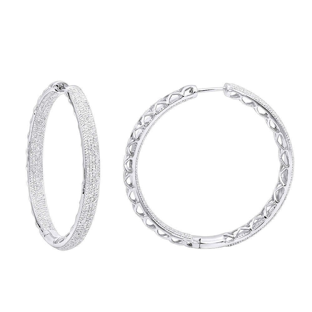 14k Gold Large Diamond Hoop Earrings 3.5ct Inside Out Pave Setting White Image