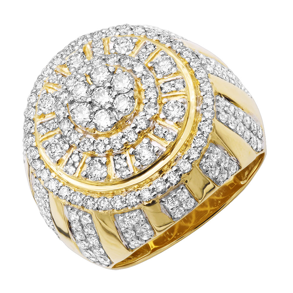 14k Gold Large Dome Shaped Mens Diamond Statement Ring 3D Design 3.5ct  Yellow Image