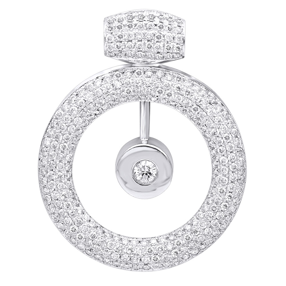 14k Gold Large Round Shape Diamond Circle Pendant For Women 5.25CT Luxurman White Image