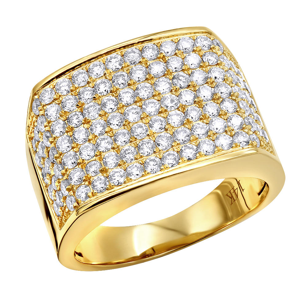 14k Gold Mens Diamond Ring 2.5 Carat Wide Band by LUXURMAN Yellow Image