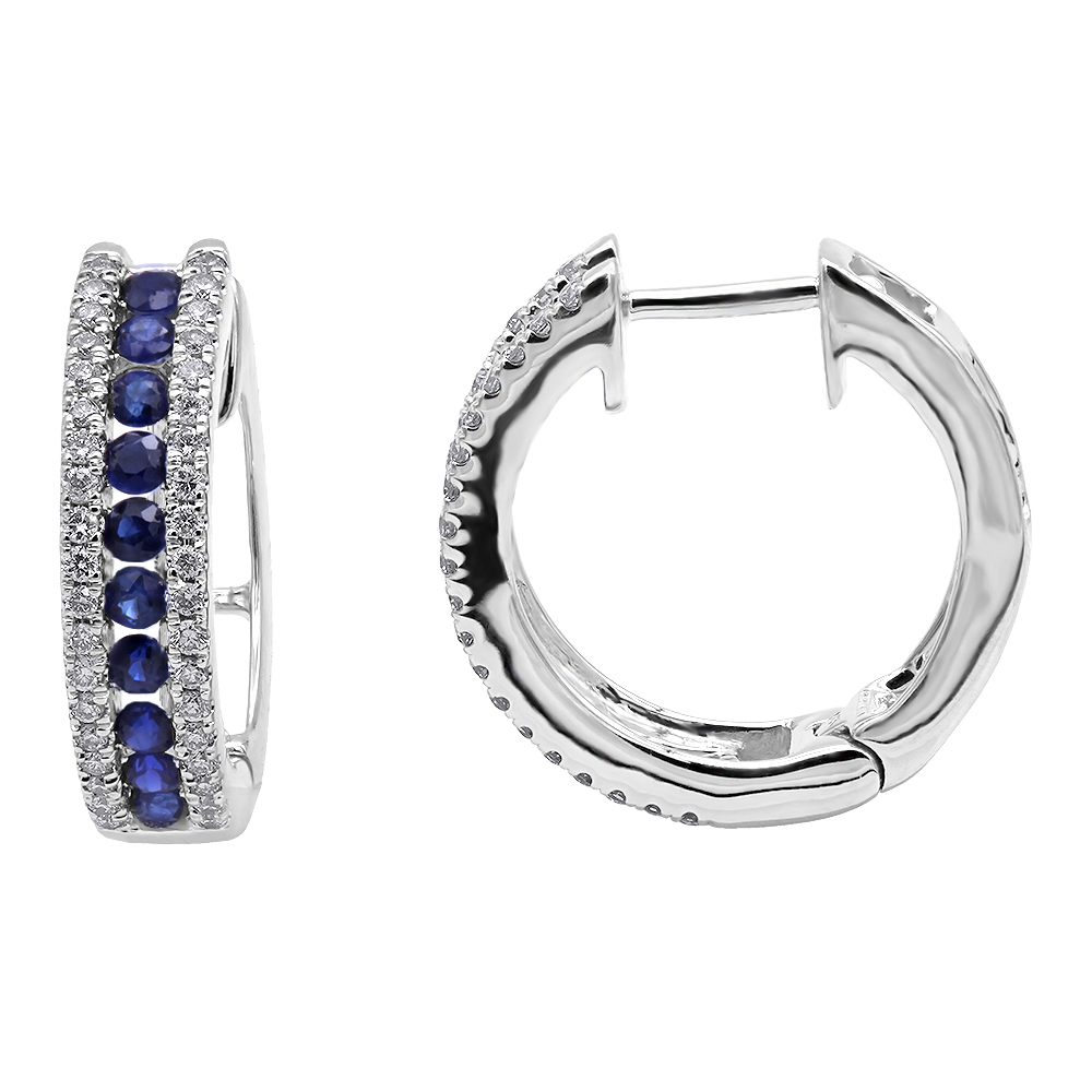 14K Gold Natural Blue Sapphire and Diamond Huggie Earrings for Women 0.85ct White Image
