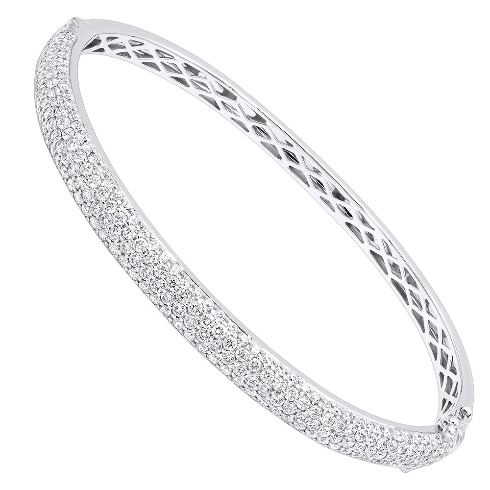 14k Gold Pave Diamond Bangle Bracelet for Women 4.75ct by LUXURMAN White Image