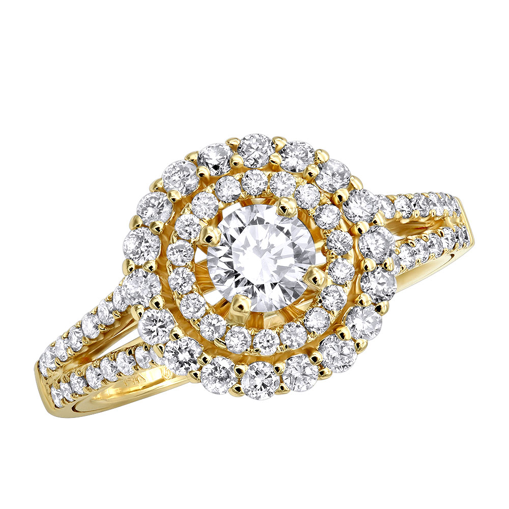14k Gold Round Diamond Engagement Ring Double Halo Design 1.5 Carat Yellow Image