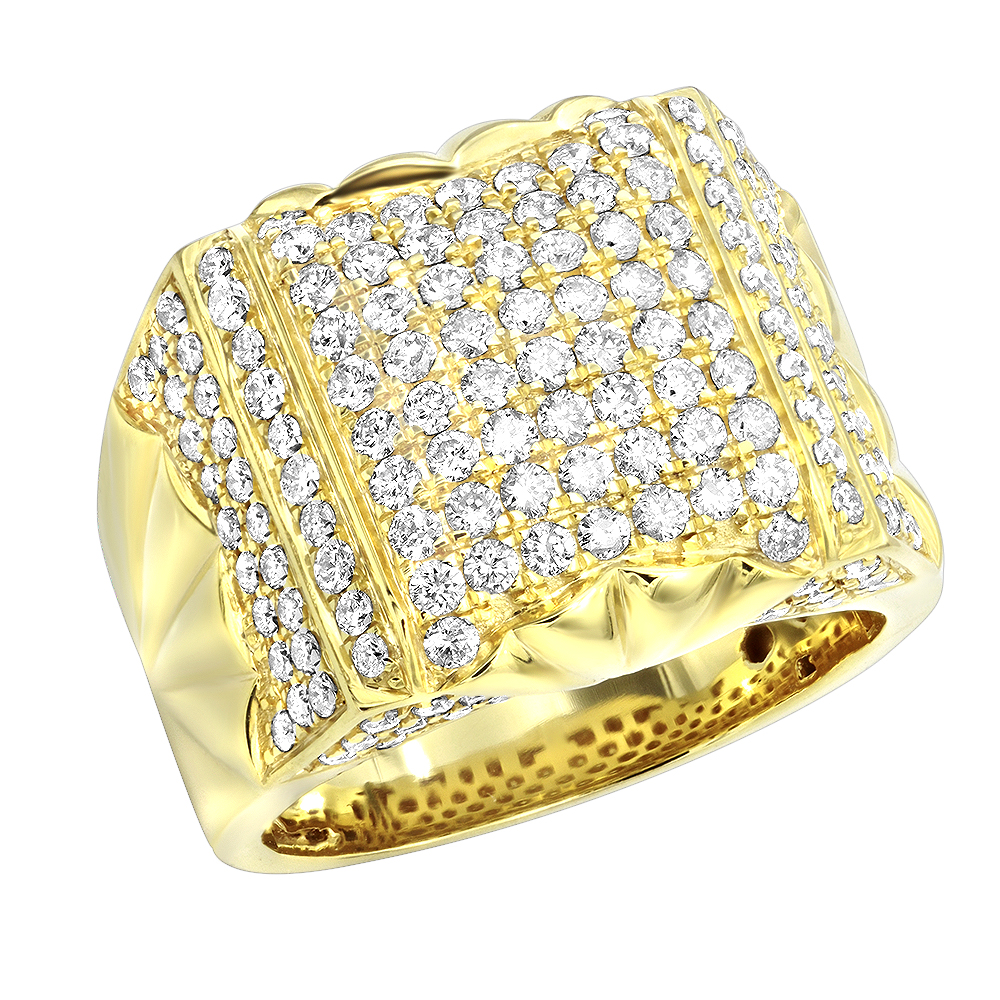 14k Gold Unique Mens Diamond Statement Ring 2.75ct by LUXURMAN Yellow Image