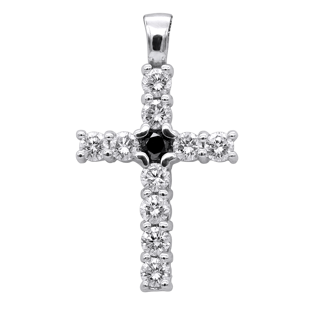 14K Gold White And Black Diamond Cross Pendant for Men & Women 1.33ct White Image