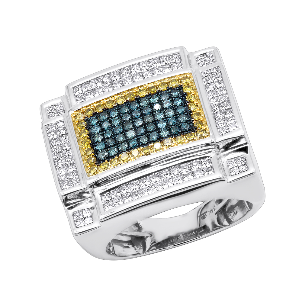 14K Gold White Yellow and Blue Diamond Ring For Men 3.75 Carats Color Diamonds White Image