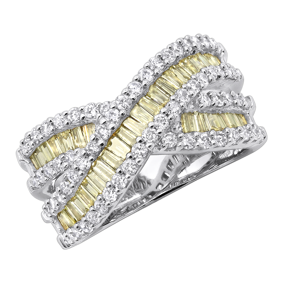 14K Gold White Yellow Diamond Statement Criss Cross Ring for Women 2 Carats White Image
