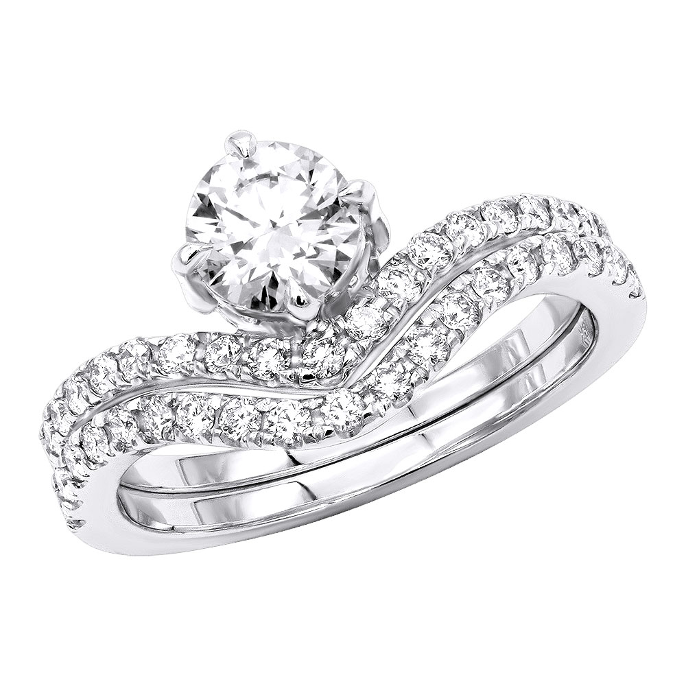 1.6 Carat Diamond Engagement Ring Set in 18K Gold Designer Bridal Rings White Image