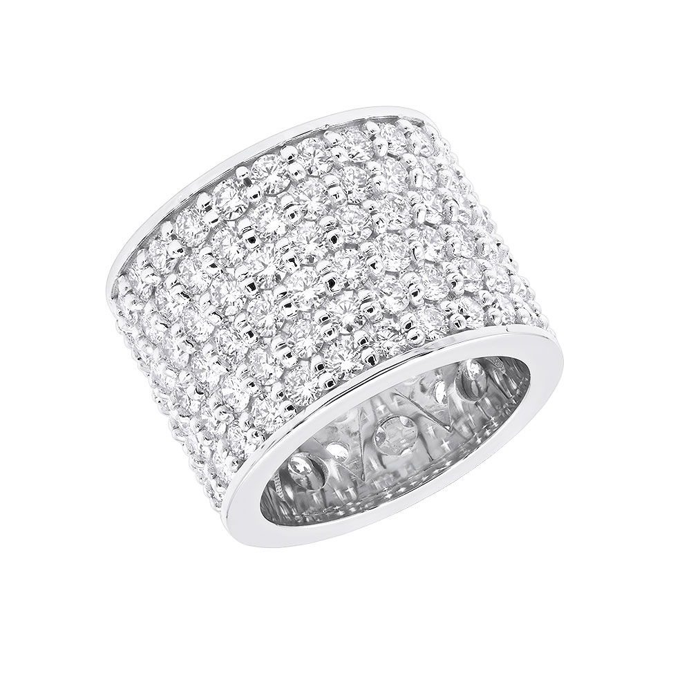 16mm Wide Diamond Eternity Band Unique 18k Gold Ladies Anniversary Ring 7 Carats White Image