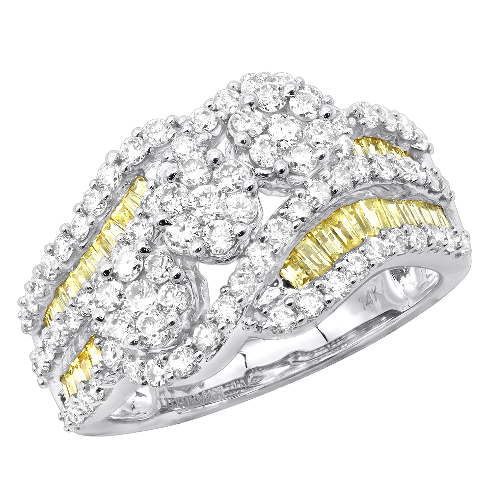 2 Carat Cluster White & Yellow Diamond Cocktail Ring For Women in 14k Gold White Image