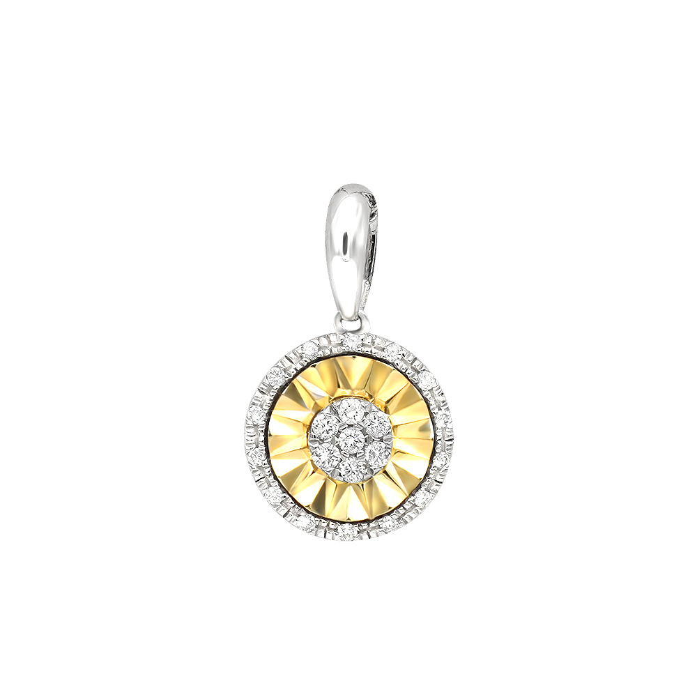 2 Carat Solitaire Look Halo Diamond Two Tone Pendant For Women in 14K Gold Yellow Image