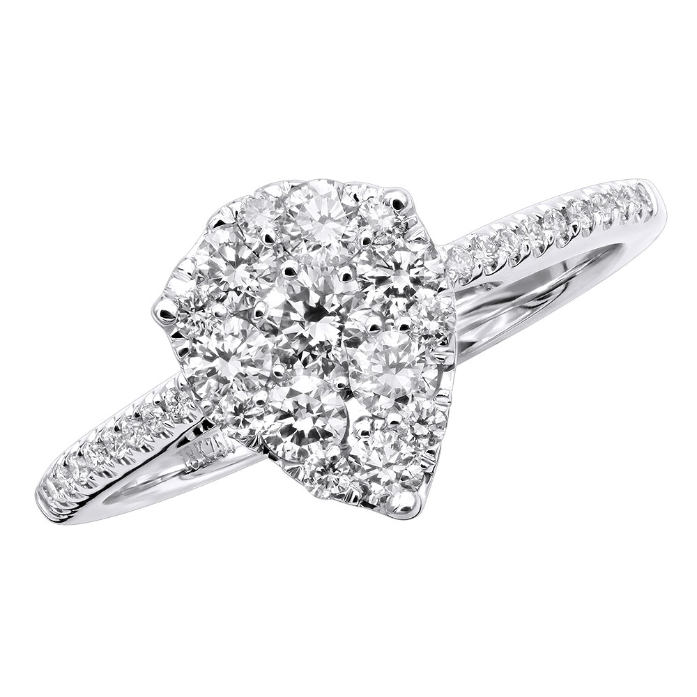 3 Carat Look Pear Shape Diamond Engagement Ring 18K Gold 1ct Round Diamonds White Image