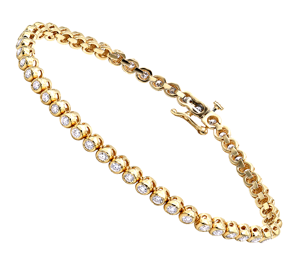 3 Carat Modern Bezel Set Round Cut Diamond Tennis Bracelet in 14K Gold Yellow Image
