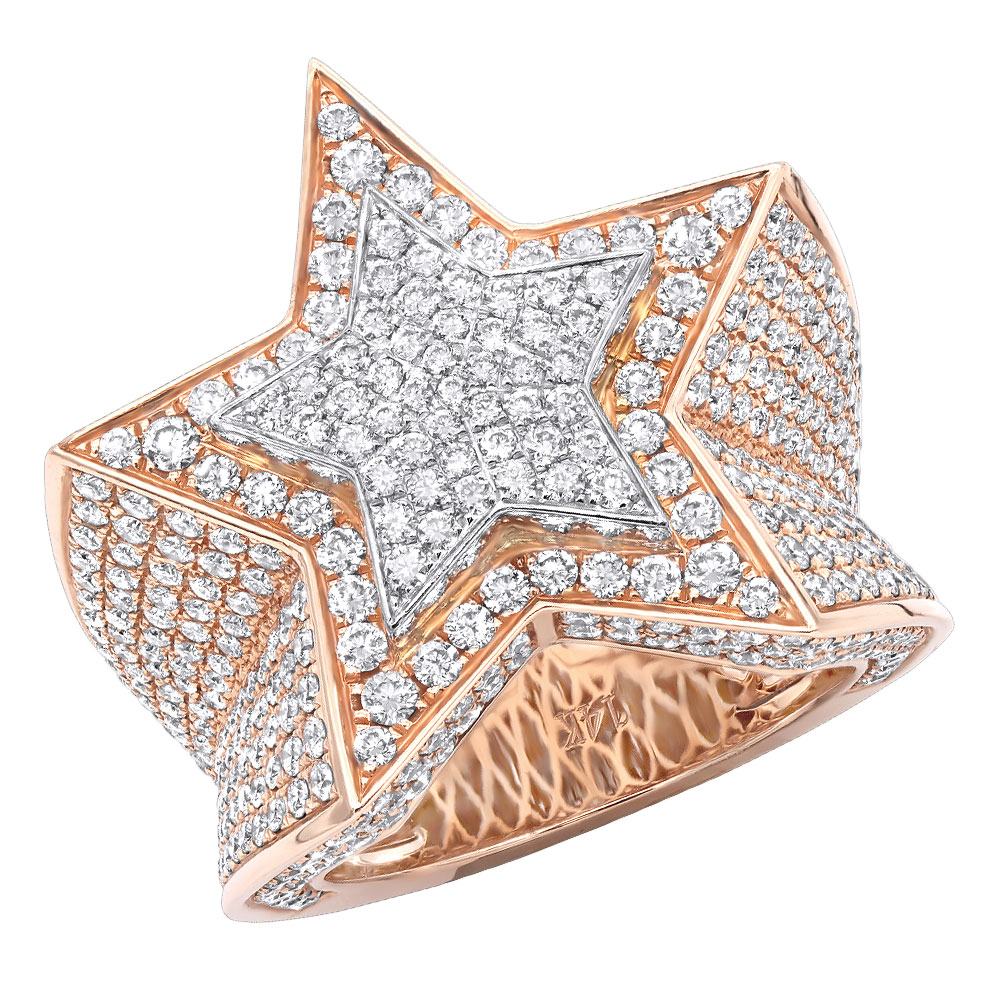 4.75 Carat G VS Diamond Star Shaped Pinky Ring for Men 14k Gold Statement Jewelry Rose Image