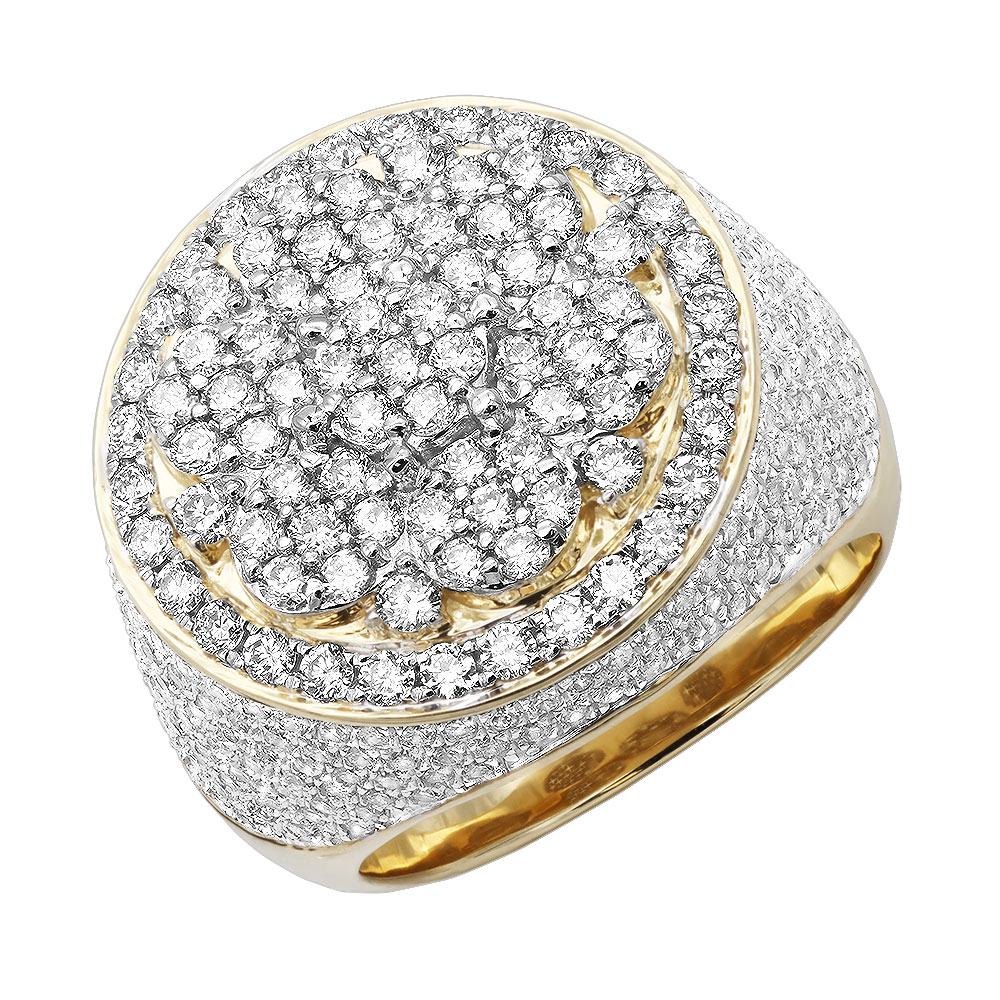 5 Carat Round Diamond Cluster Ring for Men in Solid 14k Gold Yellow Image