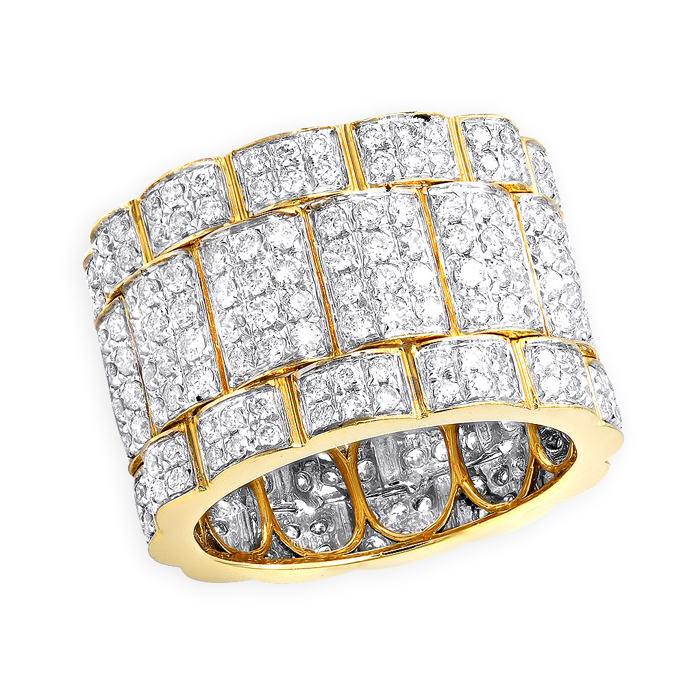 5/8in Wide Mens Diamond Eternity Band 14k Gold Anniversary Ring 3.7ct Yellow Image