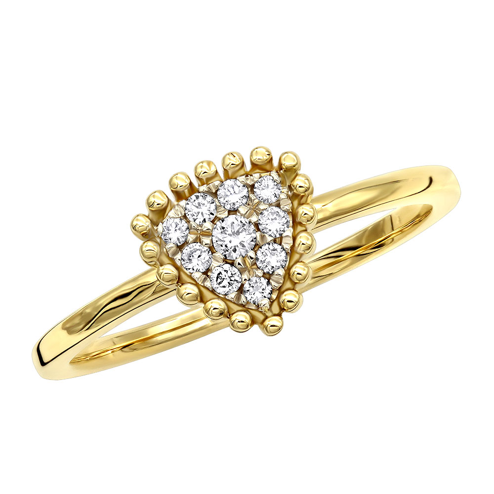 Affordable Fashion Promise Rings Triangle Diamond Cluster Ring 14k Gold Yellow Image