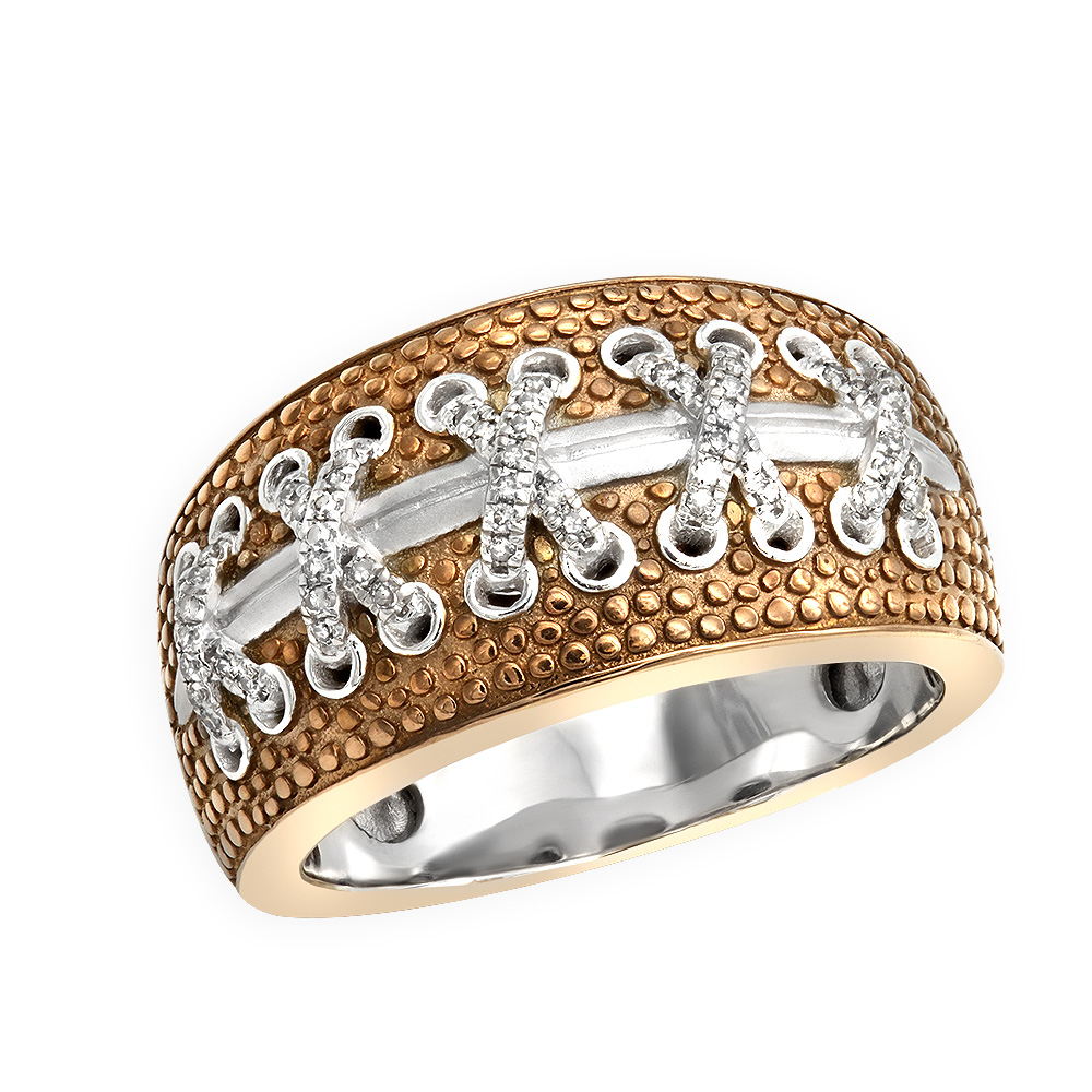 American Football Mens Diamond Ring in Sterling Silver 0.2ct Touchdown